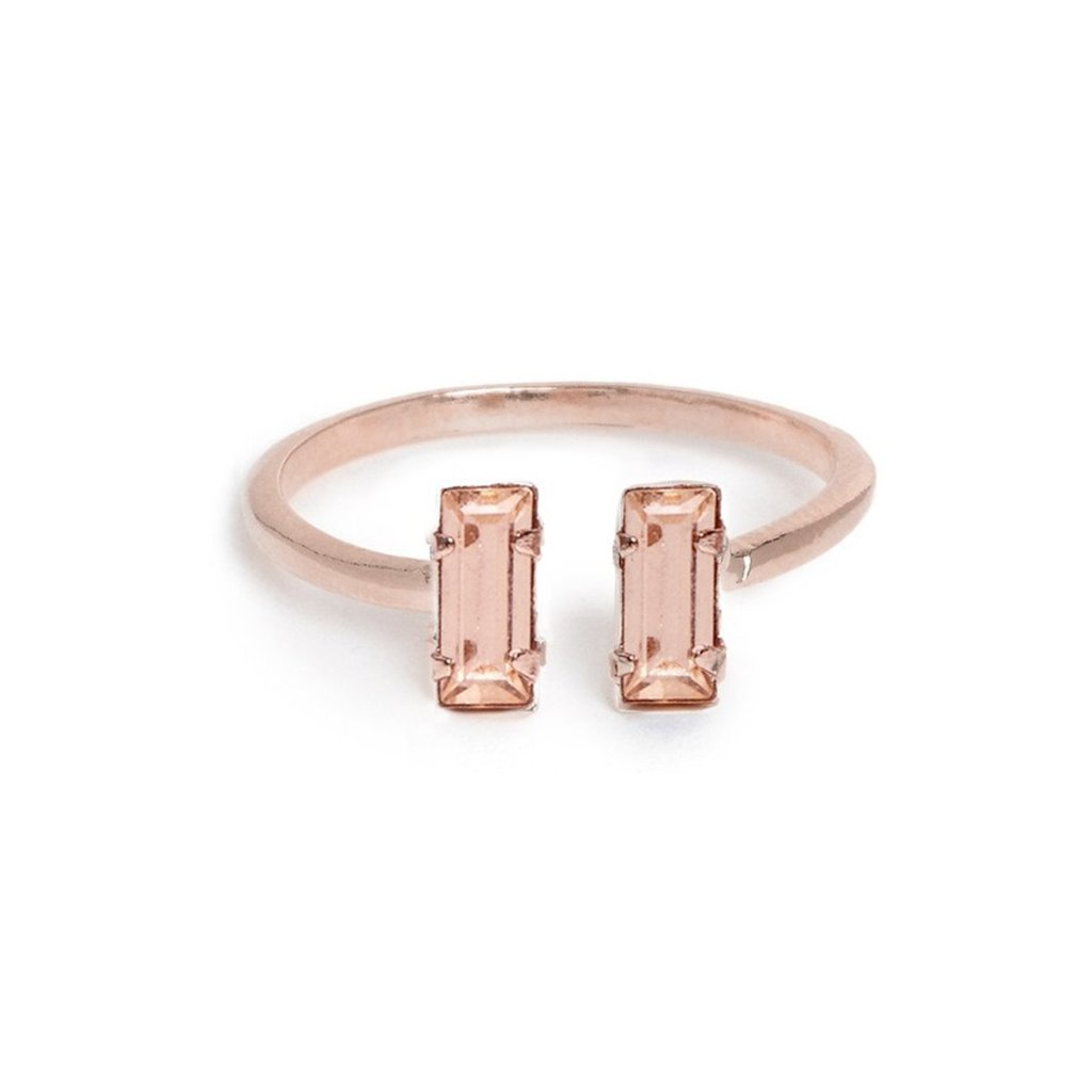 Double Baguette Ring - Peach - Bing Bang Jewelry NYC