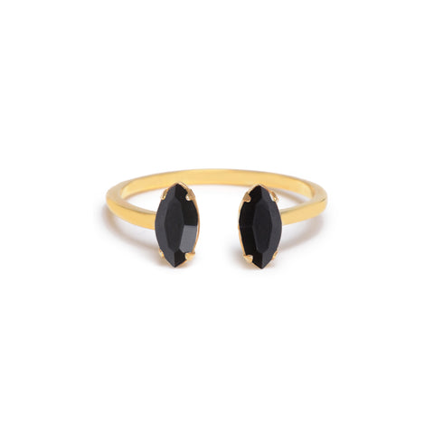Double Marquis Ring - Jet - Bing Bang Jewelry NYC
