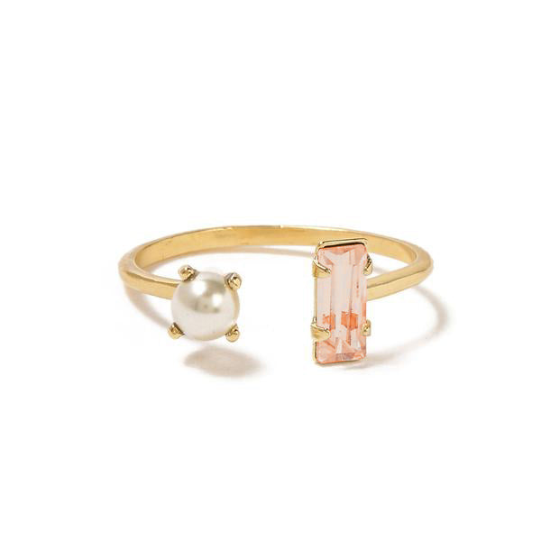 Open Pearl Baguette Ring - Peach Crystal - Bing Bang Jewelry NYC