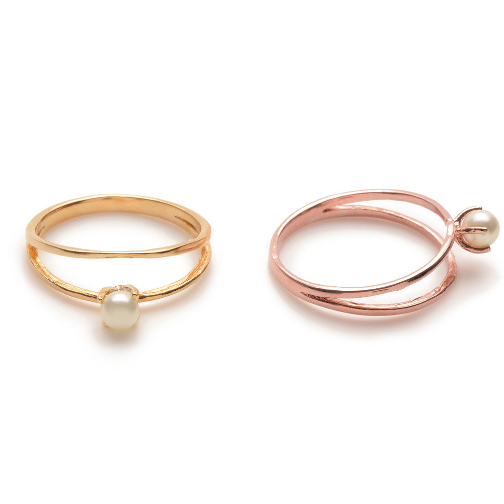 Pearl Illusion Ring-Rose Gold - Bing Bang NYC