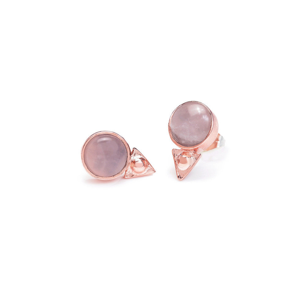 Earth Amulet Studs - Rose Quartz - SALE - Bing Bang NYC - 1