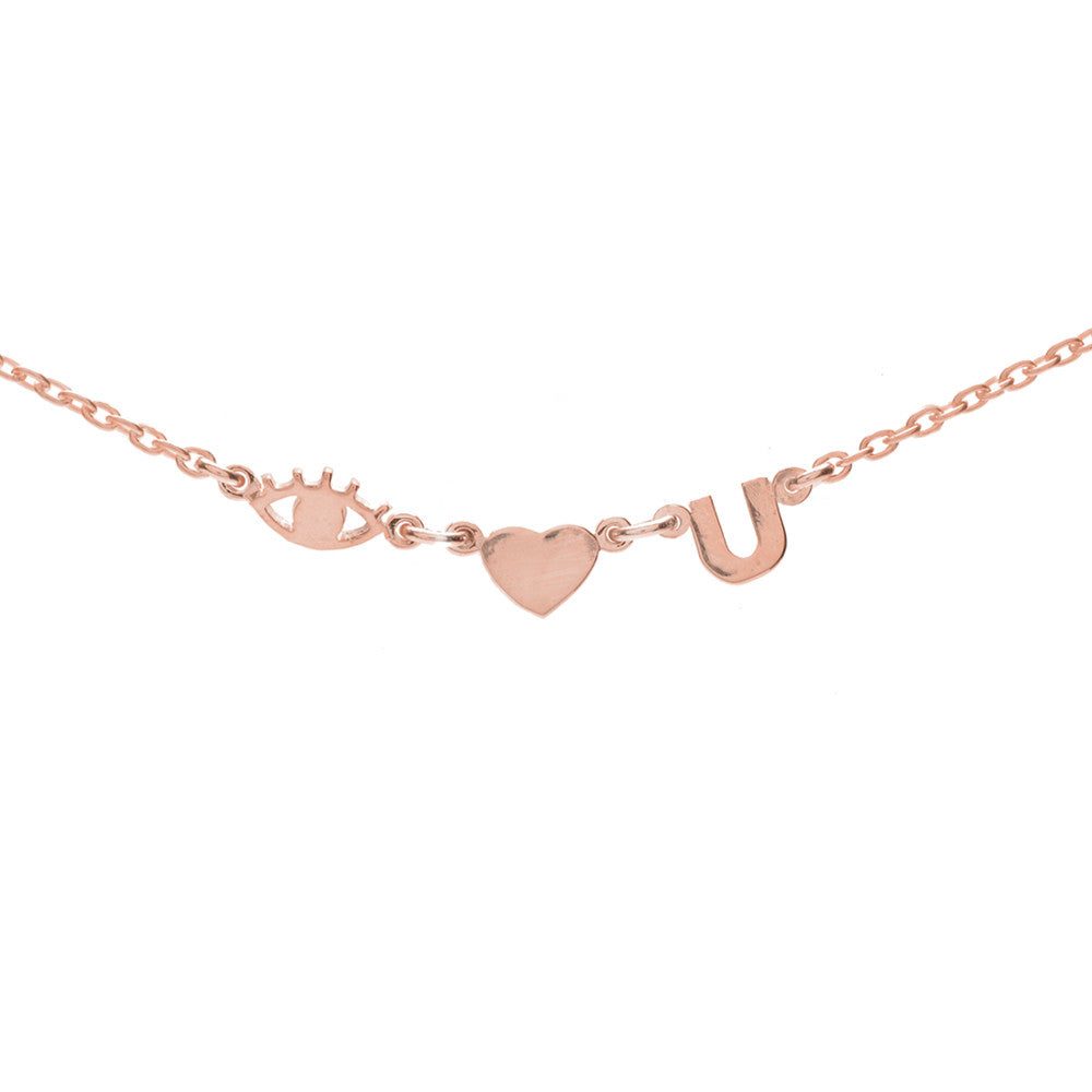 Eye Heart U Necklace-Rose Gold - Bing Bang Jewelry NYC
