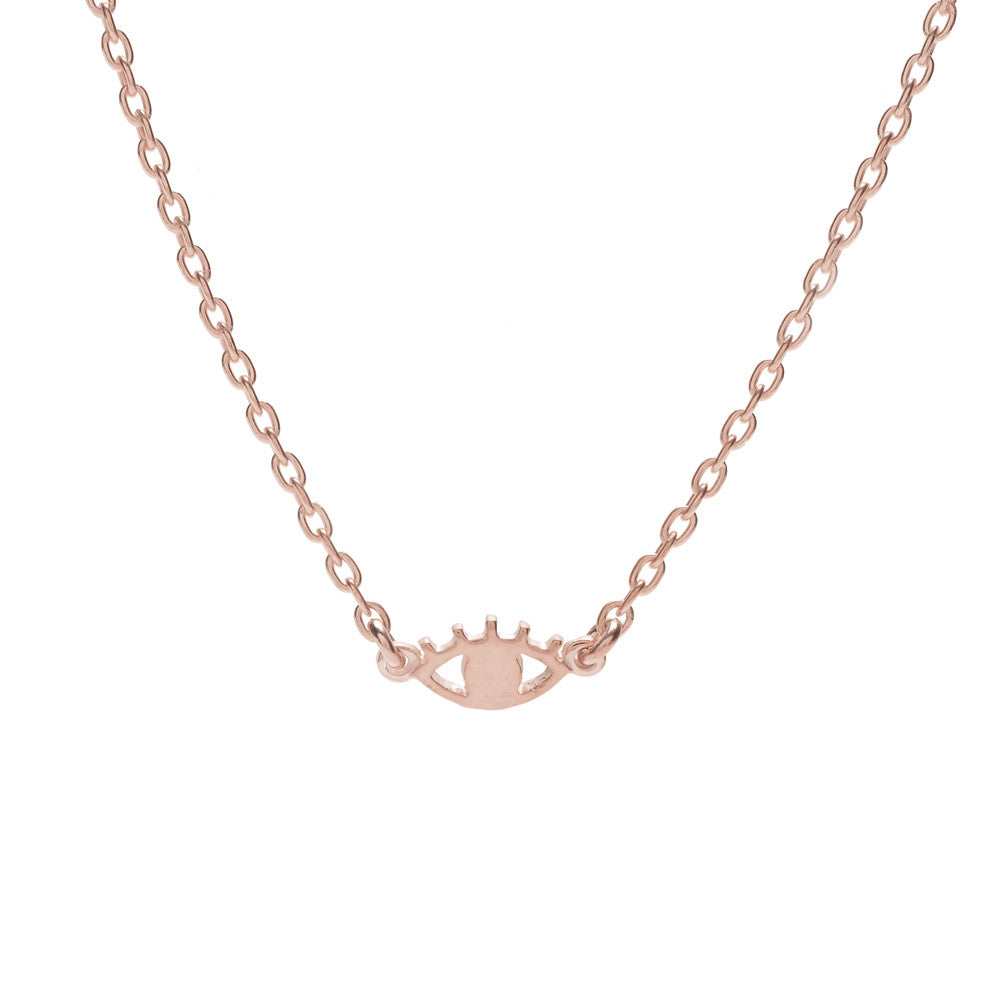 Mini Eye Necklace-Rose Gold - Bing Bang Jewelry NYC