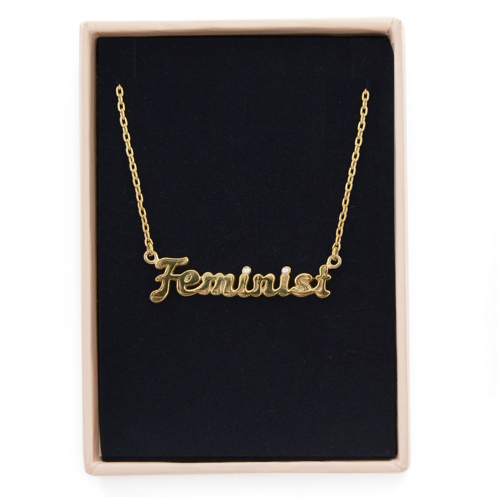 Feminist Necklace - Diamond Accents (BB x Me & You) - Bing Bang Jewelry NYC