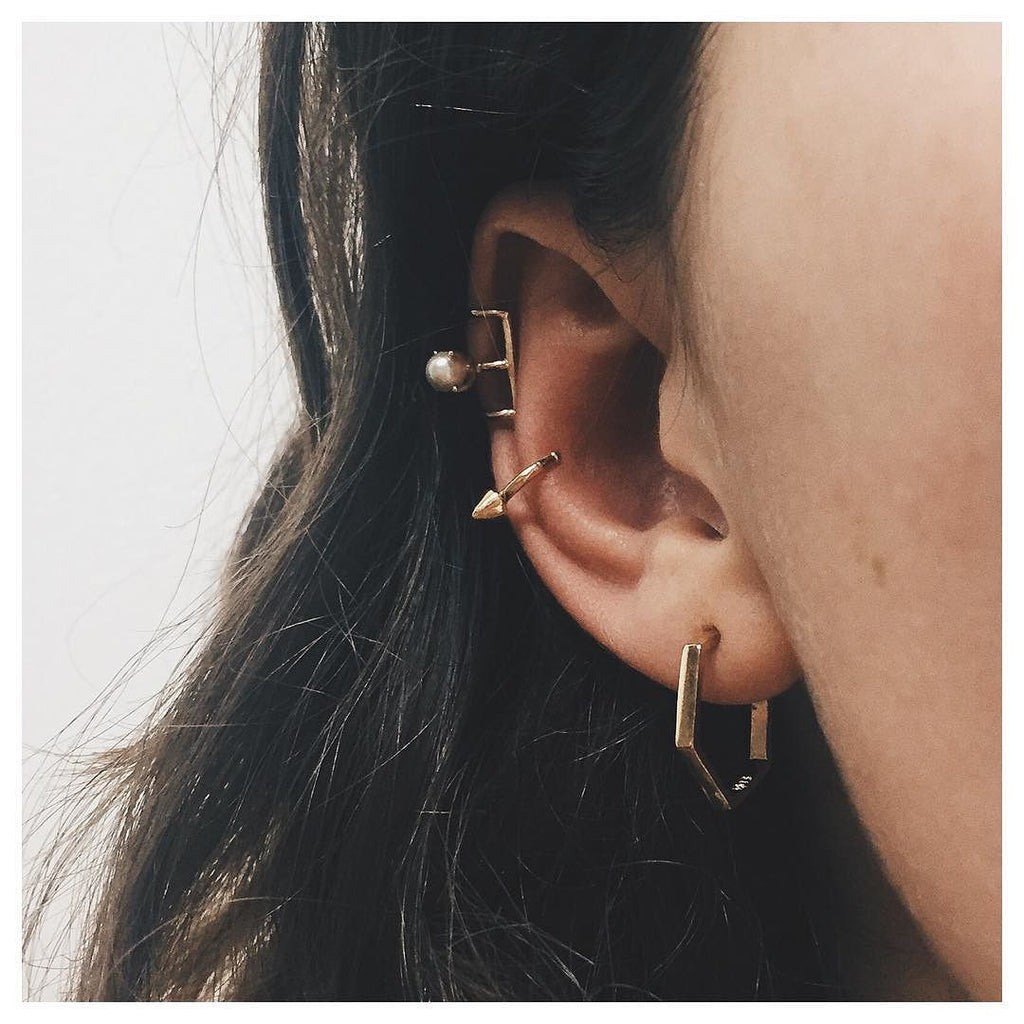 Delicate Caged Pearl Ear Cuff - Bing Bang Jewelry NYC