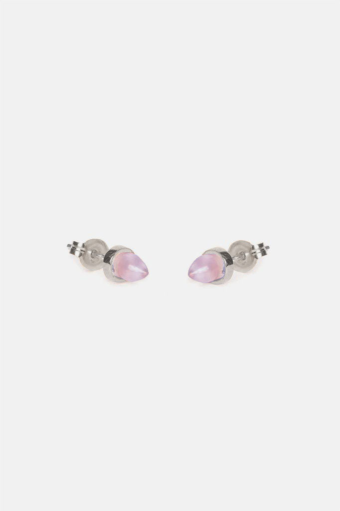 Gemstone Bullet  Studs - Bing Bang Jewelry NYC