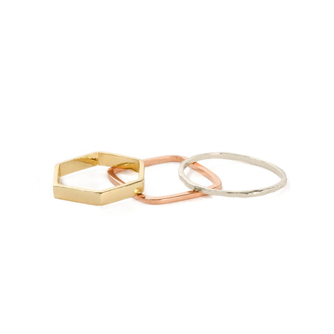 Geometric Ring Set - Bing Bang Jewelry NYC