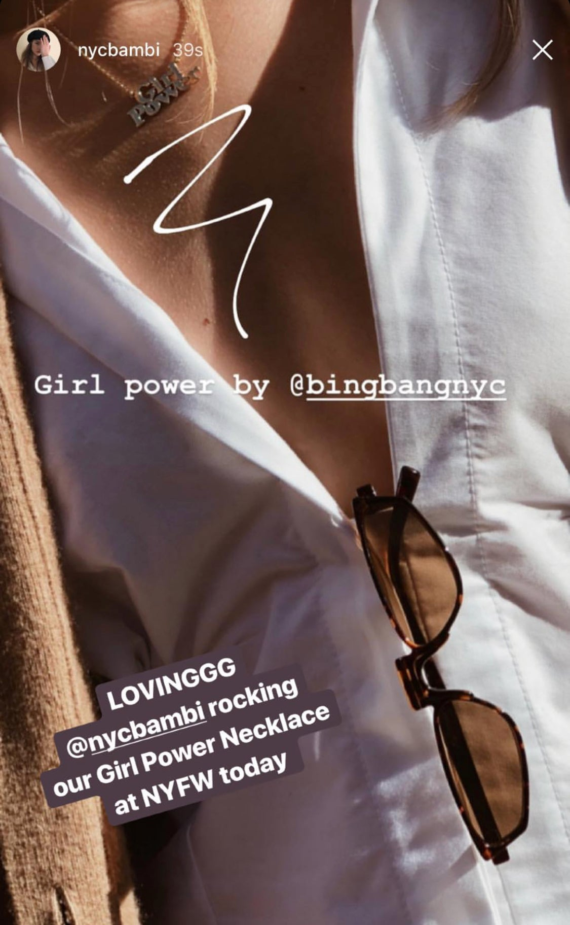 Girl Power Necklace-Rose Gold - Bing Bang Jewelry NYC