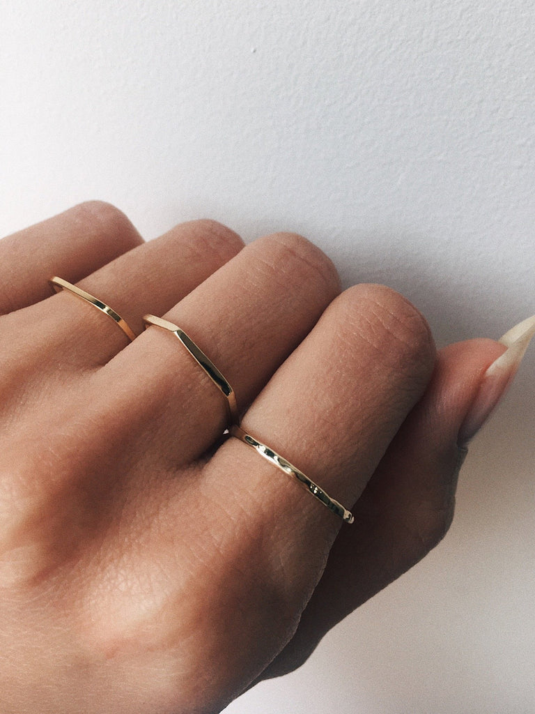 Delicate Hexagon Band - Bing Bang Jewelry NYC