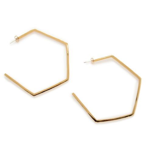 Large Hexagon Hoops - Bing Bang Jewelry NYC