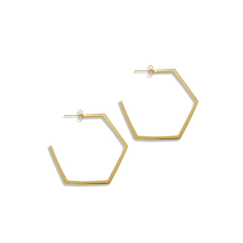 Medium Hexagon Hoops - Bing Bang Jewelry NYC