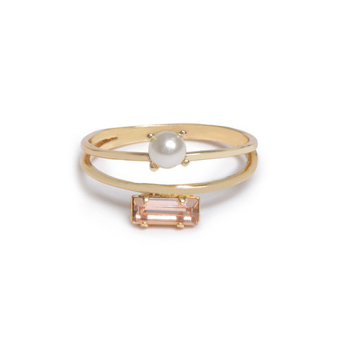Monroe Duet Ring - Peach Crystal - Bing Bang Jewelry NYC
