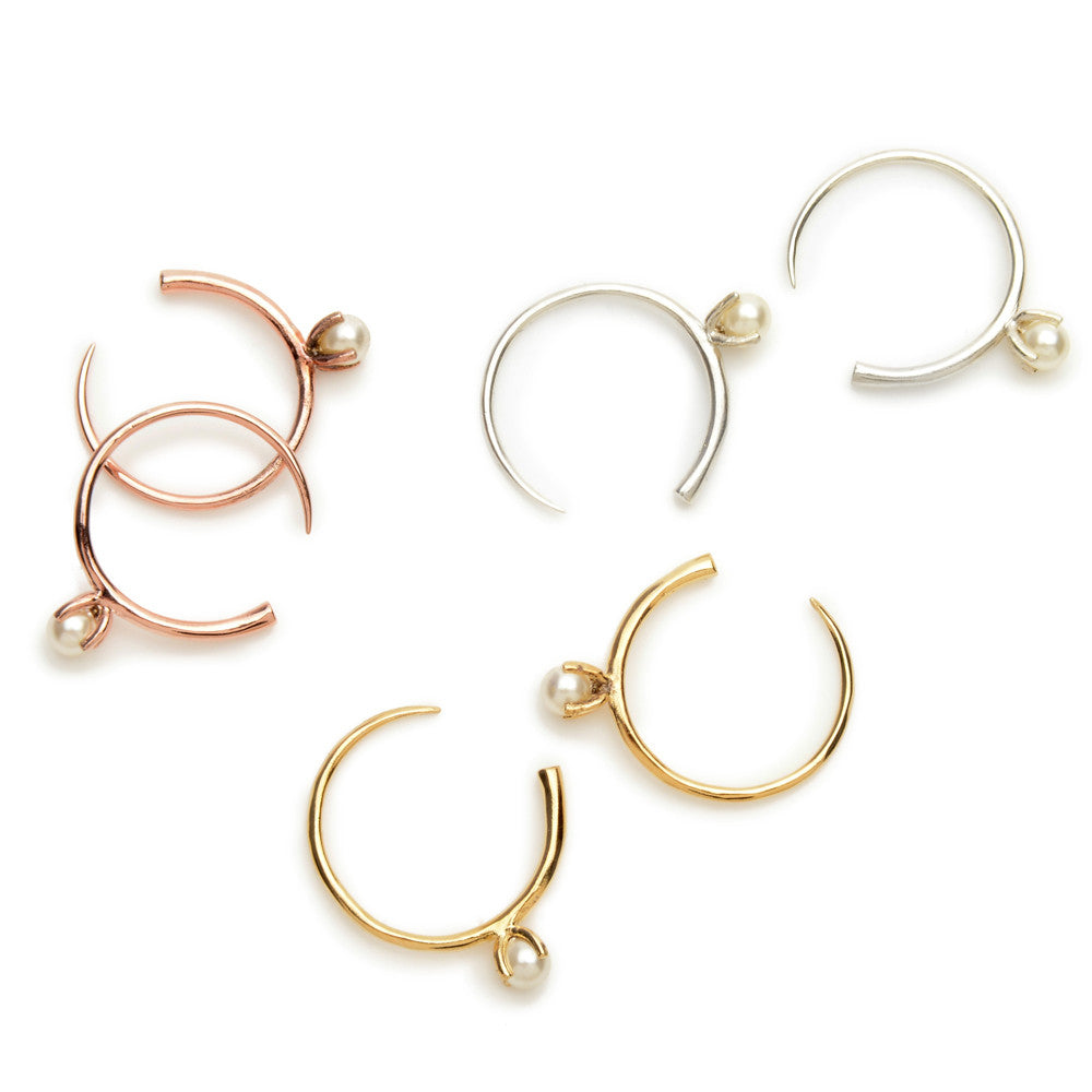 Pearl Open Hoops - Bing Bang Jewelry NYC