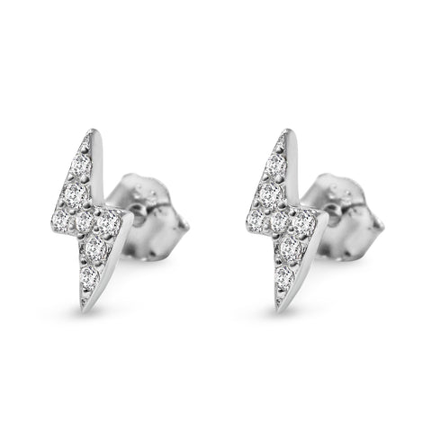 Pavé Lightning Bolt Studs - Bing Bang Jewelry NYC