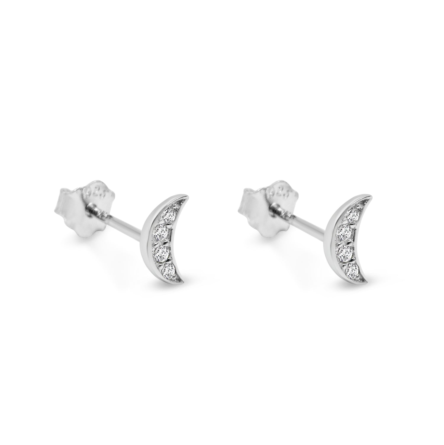 Pavé Little Moon Studs - Bing Bang Jewelry NYC