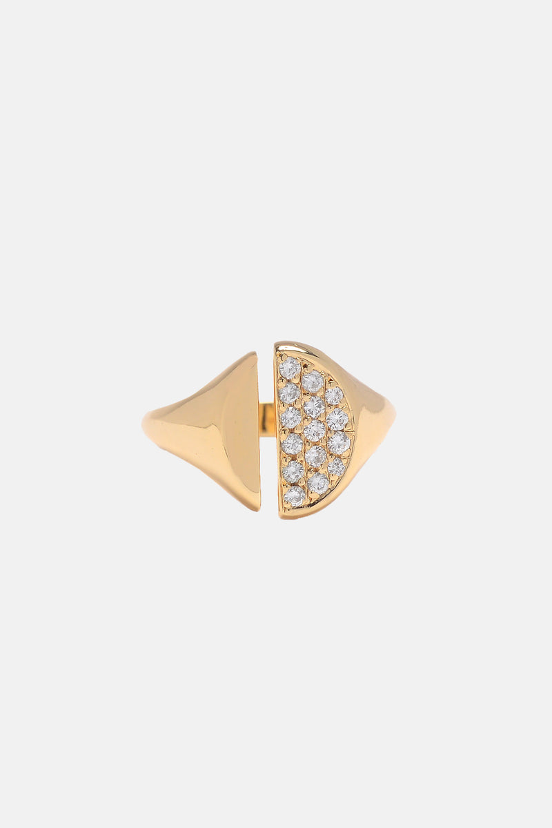 Diamond Pavé Divided Signet Ring - Bing Bang Jewelry NYC