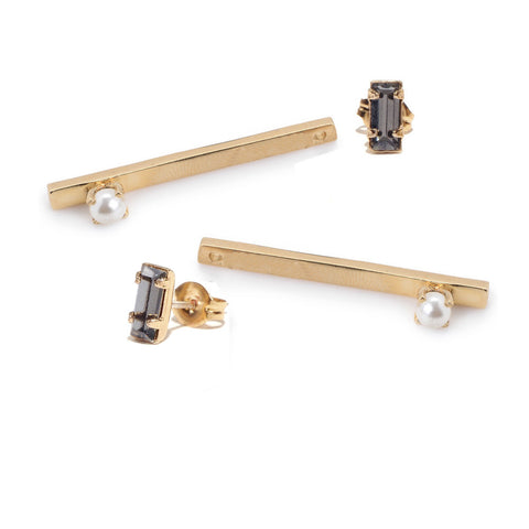 Pearl Bar Earring - Baguette Stud - Bing Bang NYC - 2