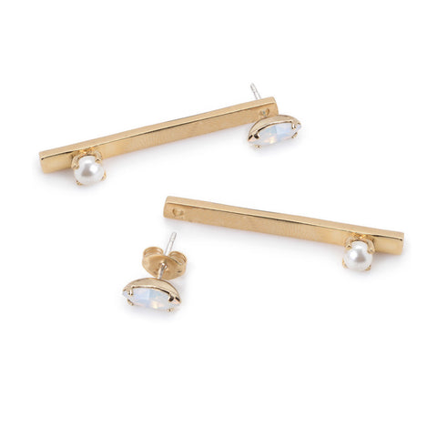 Pearl Bar Earring - Marquis Stud - Bing Bang NYC - 1