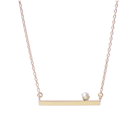 Pearl Bar Necklace - Bing Bang Jewelry NYC