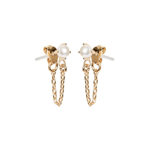 Pearl Continuous Earrings - Bing Bang Jewelry NYC