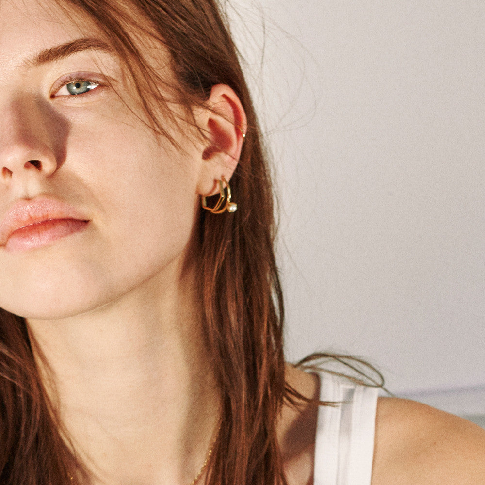 Little Hexagon Hoops - Bing Bang Jewelry NYC