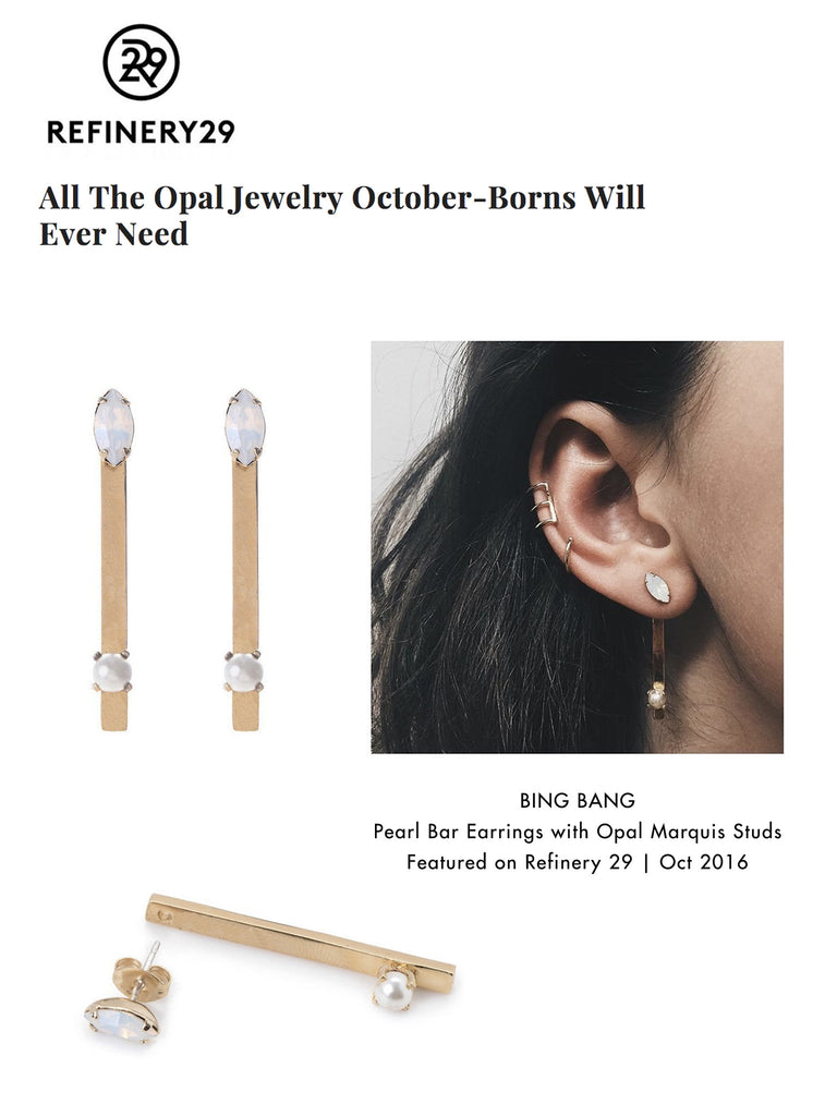 Pearl Bar Earring - Marquis Stud - Bing Bang NYC - 6