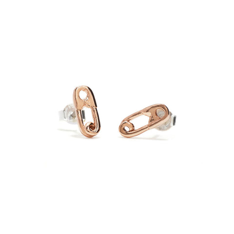 Safety Pin Studs-Rose Gold - Bing Bang Jewelry NYC