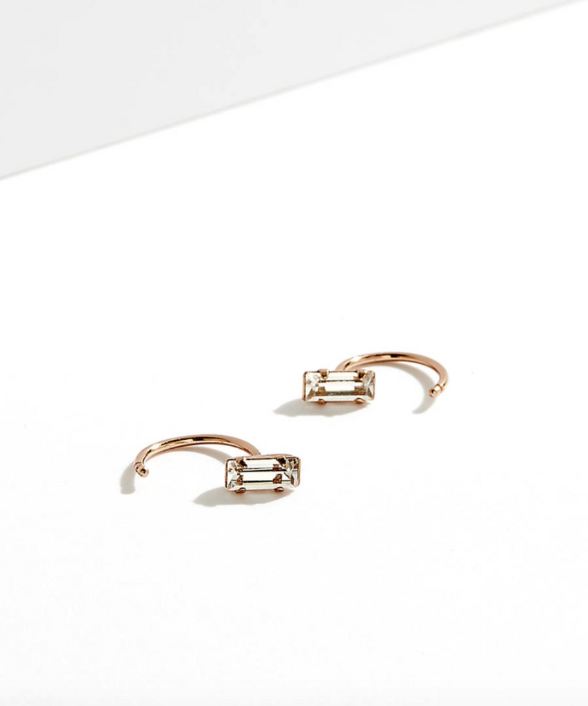 Tiny Baguette Hugger Hoops - Bing Bang Jewelry NYC