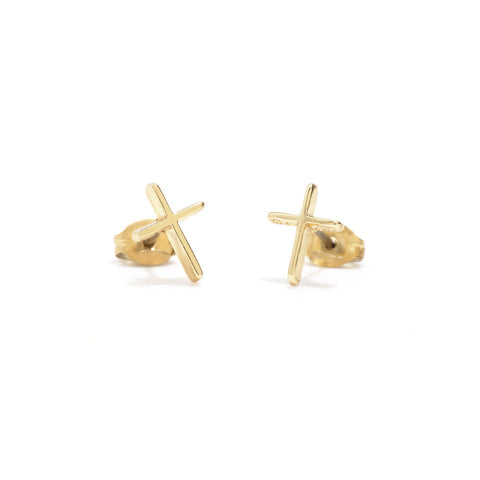 Skinny Cross Studs - Bing Bang NYC - 1