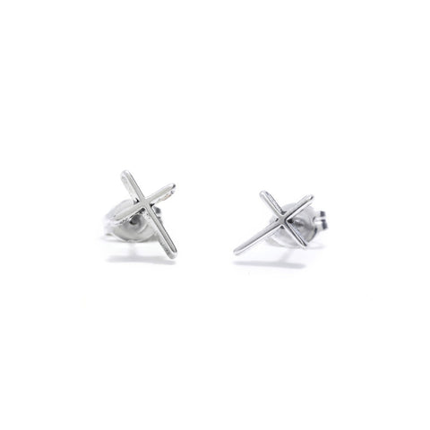 Skinny Cross Studs - Bing Bang Jewelry NYC