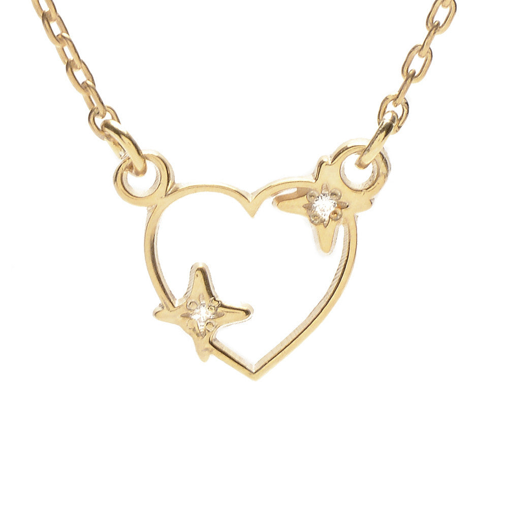 Sparkle Heart Necklace - Diamond Accents - Bing Bang Jewelry NYC