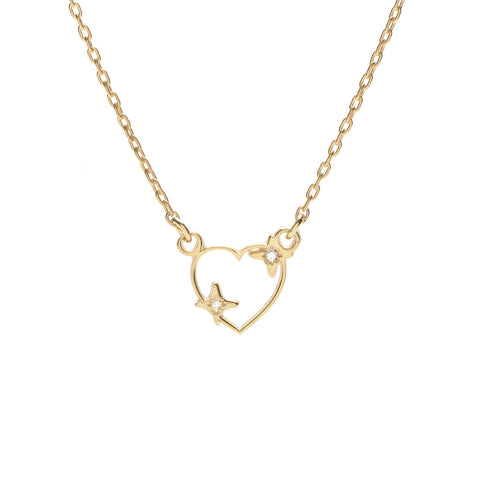 Sparkle Heart Necklace - Diamond Accents - Bing Bang NYC - 1