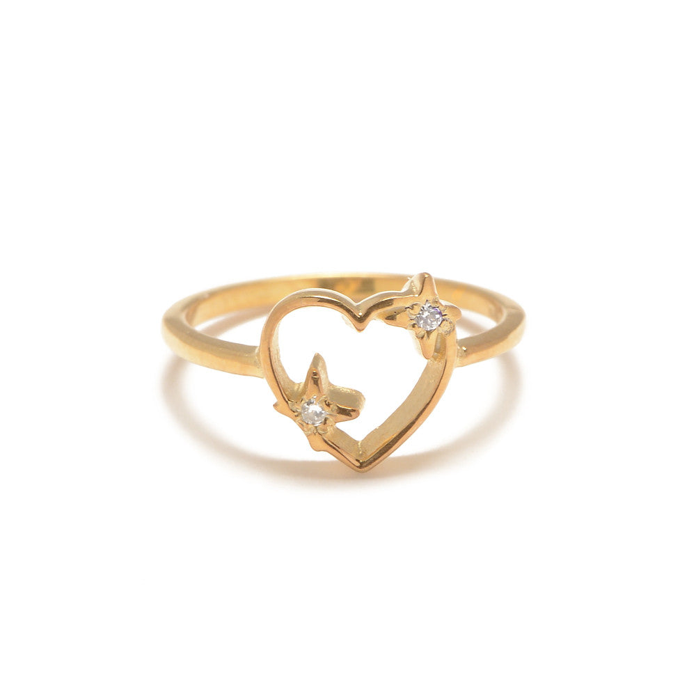 Sparkle Heart Ring with Diamond Accents – Bing Bang NYC