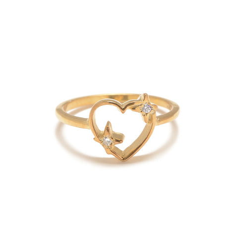Sparkle Heart Ring with Diamond Accents - Bing Bang Jewelry NYC