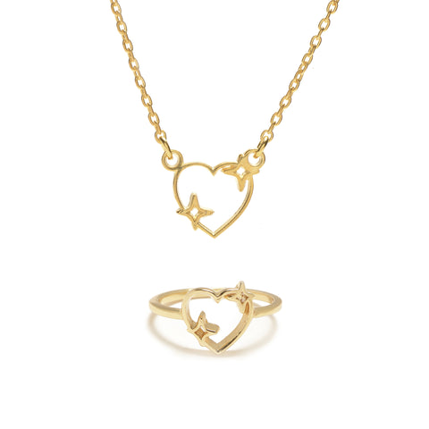Sparkle Heart Set (Necklace & Ring) - Bing Bang Jewelry NYC