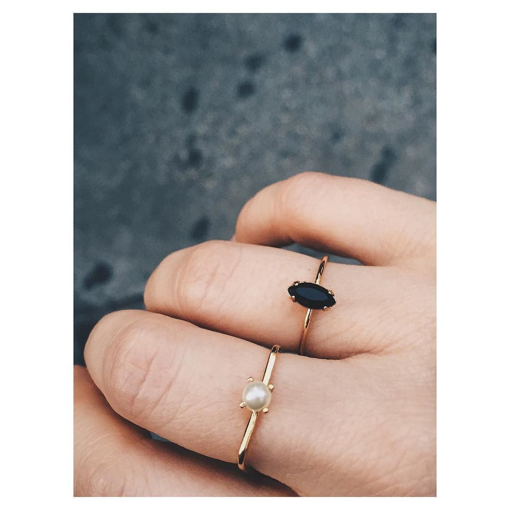 Square Tiny Pearl Ring - Bing Bang Jewelry NYC