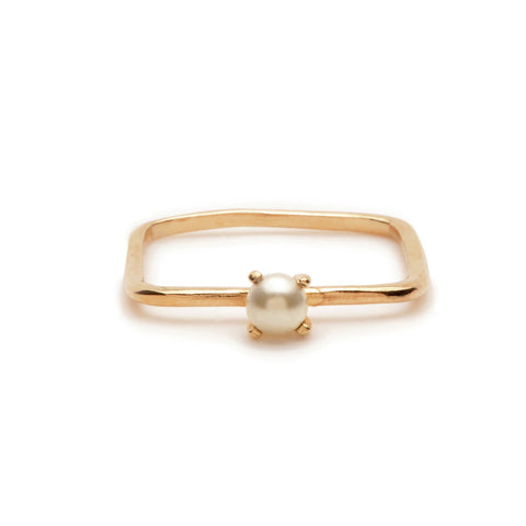 Square Tiny Pearl Ring - Bing Bang NYC - 1