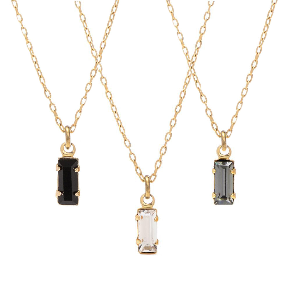Tiny Baguette Necklace - Bing Bang Jewelry NYC