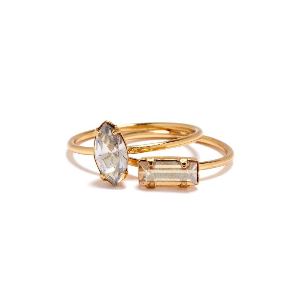 Tiny Baguette Ring - Clear Crystal - Bing Bang Jewelry NYC