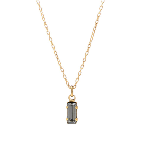 Tiny Baguette Necklace - Blue Grey Crystal - Bing Bang NYC - 1