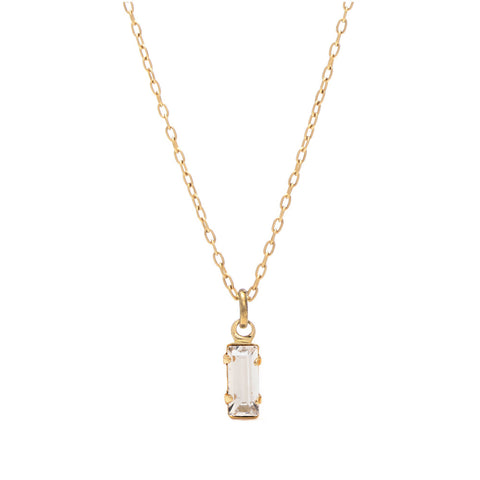 Tiny Baguette Necklace - Clear Crystal - Bing Bang Jewelry NYC