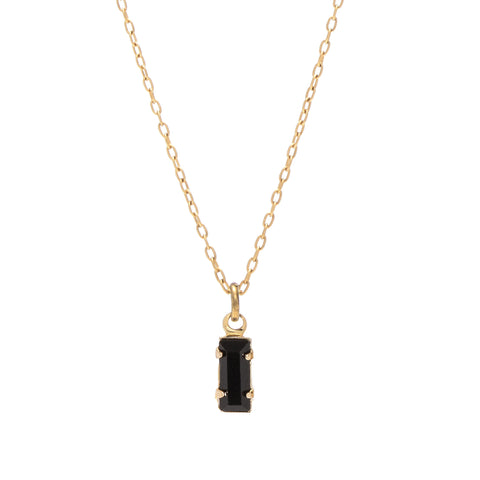 Tiny Baguette Necklace - Jet Black Crystal - Bing Bang NYC