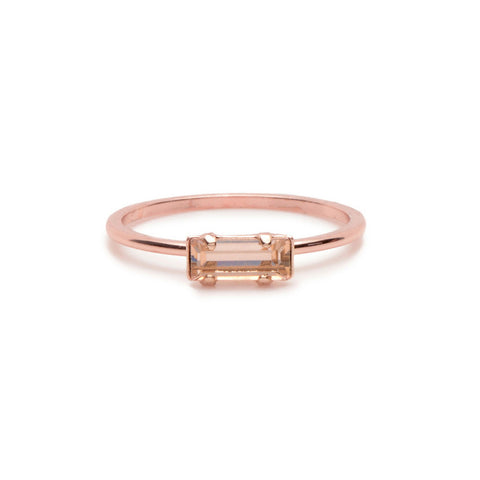 Tiny Baguette Ring - Peach Crystal - Bing Bang Jewelry NYC