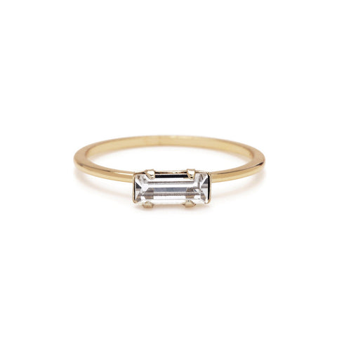 Tiny Baguette Ring - Clear Crystal - Bing Bang NYC