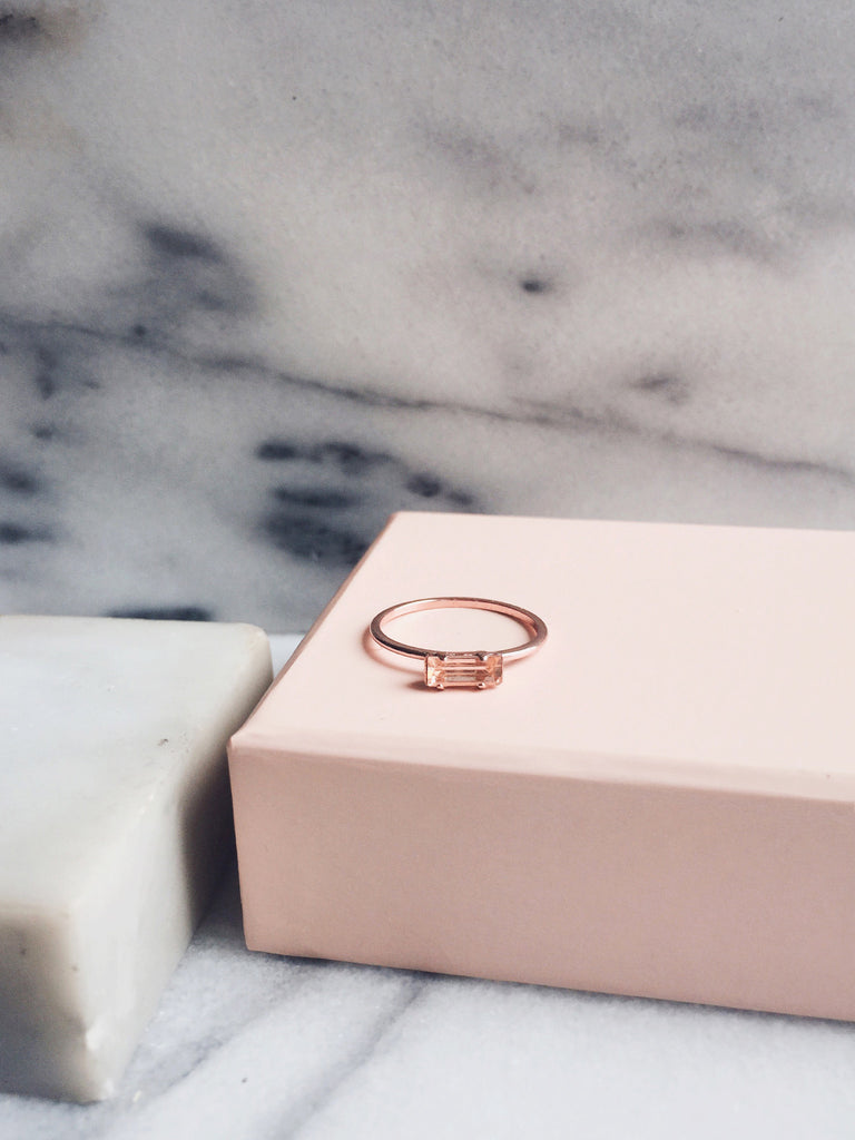 Tiny Baguette Ring - Peach Crystal - Bing Bang NYC - 4
