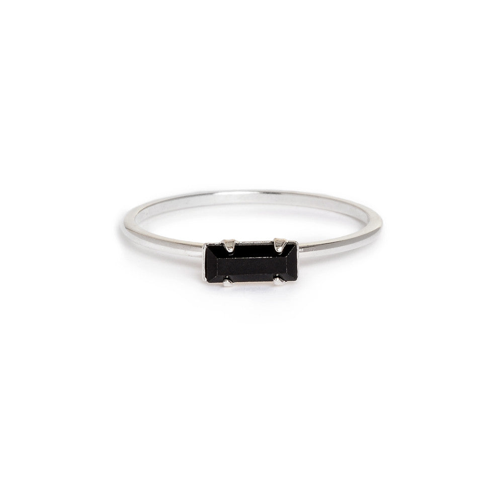 Tiny Baguette Ring - Jet Black Crystal - Bing Bang Jewelry NYC