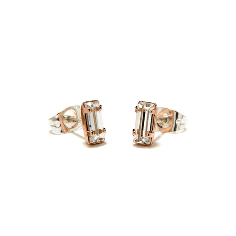 Tiny Baguette Studs - Clear Crystal - Bing Bang NYC