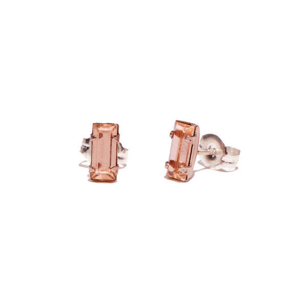 Tiny Baguette Studs - Peach Crystal - Bing Bang Jewelry NYC