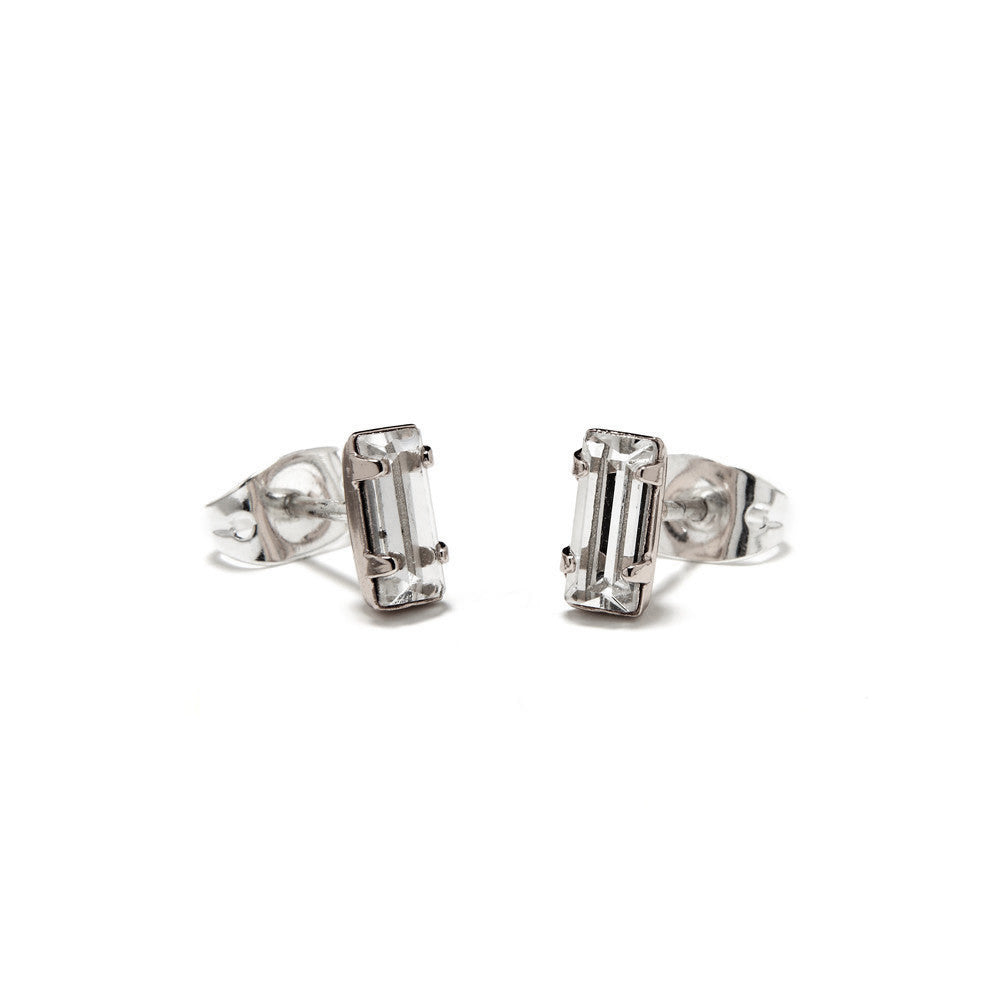 Tiny Baguette Studs - Clear Crystal - Bing Bang Jewelry NYC