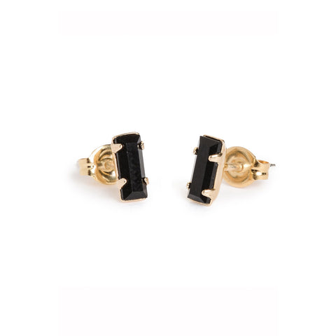 Tiny Baguette Studs - Jet Black Crystal - Bing Bang Jewelry NYC